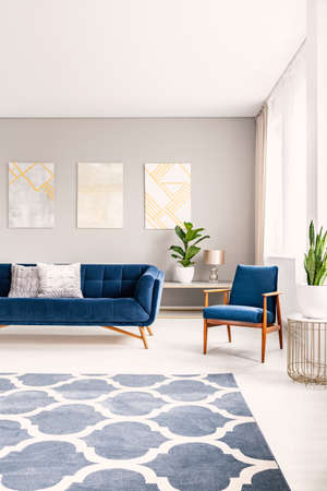 Photo pour Simple living room interior with a big floor space with a rug. Couch and armchair in the background. Real photo. - image libre de droit