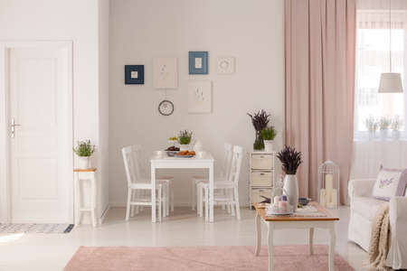 Photo pour Flowers on table next to sofa in white and pink apartment interior with posters and drapes. Real photo - image libre de droit