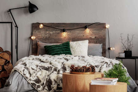 Photo pour Christmas bedroom design with lights, spruce and cones - image libre de droit