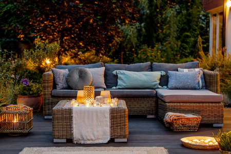 Foto de Cozy autumn evening on a modern designed terrace - Imagen libre de derechos