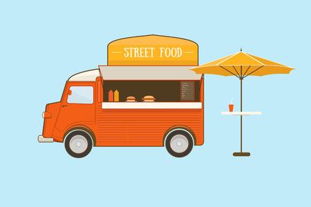 Illustration pour Street food truck with umbrella on blue background - image libre de droit