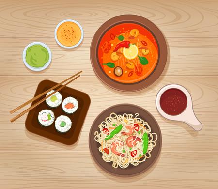 Ilustración de Illustration with Different Types of Asian Cuisine - Imagen libre de derechos