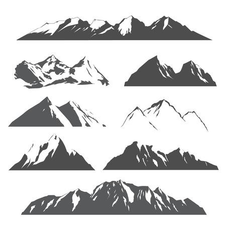 Illustration pour set of vector silhouettes of the mountains on white background - image libre de droit