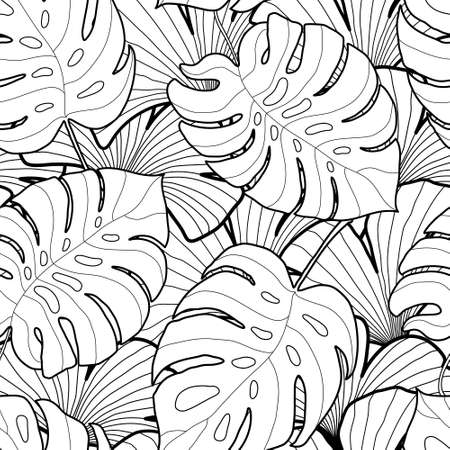 Illustration pour Black and white graphic tropical leaves seamless pattern. Palm tree background. Textile, fabric, texture, poster. Vector illustration - image libre de droit