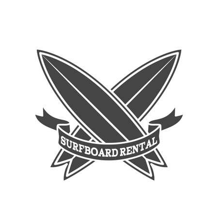 Surfboard rental logo design. Surfing logotype vector illustration. Retro style