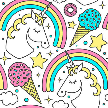 Ilustración de Seamless pattern with unicorn, rainbow, clouds, stars, ice cream, donuts. Vector cartoon style cute character. Isolated on white - Imagen libre de derechos