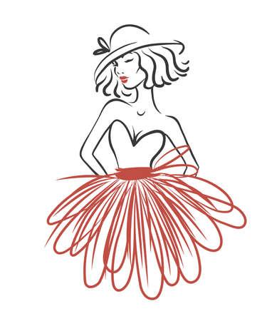 Ilustración de Silhouette of woman in red dress isolated on white. Fashion vector illustration. Logo for atelier - Imagen libre de derechos