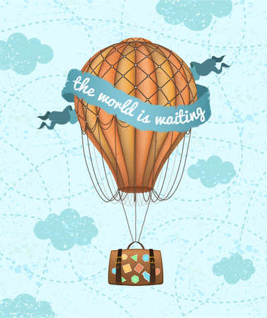 Illustration pour Vector conceptual art of hot air balloon with baggage. Concept of travel around world. - image libre de droit