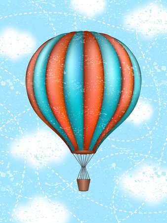 Ilustración de Vector conceptual art of hot air balloon. Concept of travel around world - Imagen libre de derechos