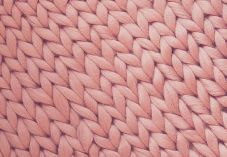 Photo for Texture of pink big knit blanket. Large knitting. Plaid merino wool. Top view - Royalty Free Image