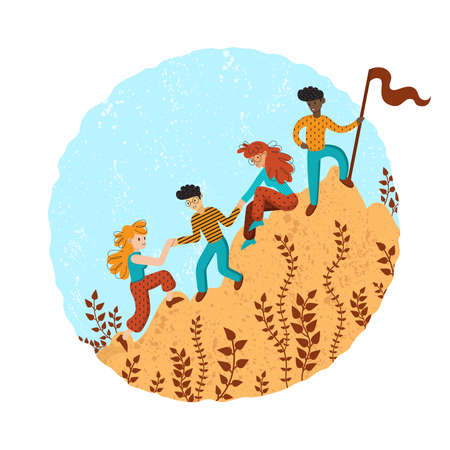 Illustration pour Group of climbers helping each other. Concept of teamwork. International business people in mountains. Leader on the top. Vector illustration in flat cartoon style. - image libre de droit