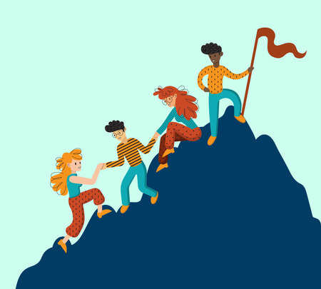 Ilustración de Group of climbers helping each other. Concept of teamwork. International business people in mountains. Leader on the top. Vector illustration in flat cartoon style. - Imagen libre de derechos