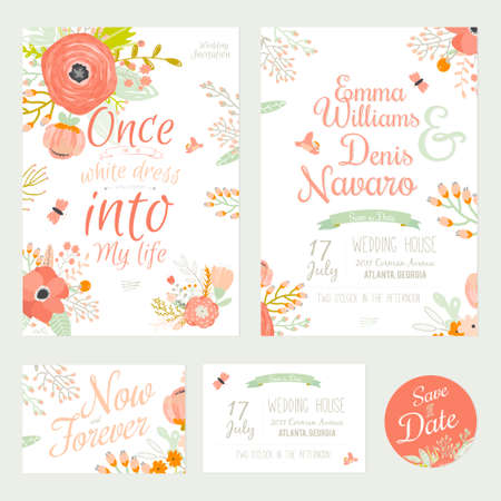 Illustration pour Vintage romantic floral Save the Date invitation in bright colors in vector. Wedding calligraphy card template with greeting labels, ribbons, hearts, flowers, arrows, wreaths, laurel. - image libre de droit