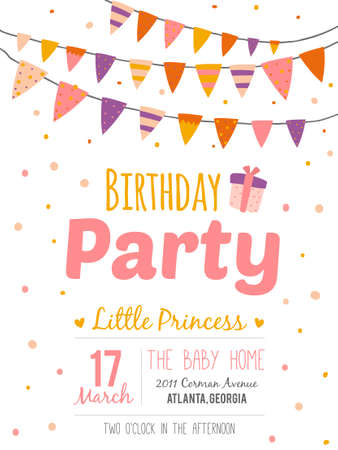 Illustration for Unusual inspirational, romantic and motivational quotes invitation card. Stylish happy birthday poster in cute style with bright garlands and sparkles for boy. Template for print design. - Royalty Free Image