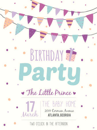 Ilustración de Unusual inspirational, romantic and motivational quotes invitation card. Stylish happy birthday poster in cute style with bright garlands and sparkles for boy. Template for print design. - Imagen libre de derechos