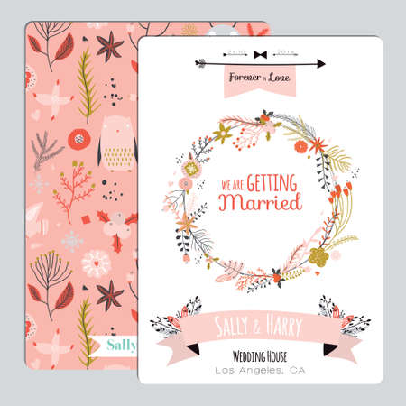 Foto de Vintage romantic floral Save the Date invitation in bright colors in vector. Wedding calligraphy card template with greeting labels, ribbons, hearts, flowers, arrows, wreaths, laurel. - Imagen libre de derechos