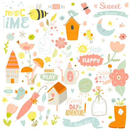 Ilustración de Romantic and lovely print illustration with cute spring and summer elements. Template for scrapbooking, wrapping, notebooks, diary, decals, school accessories - Imagen libre de derechos