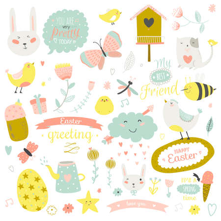 Illustration pour Romantic and lovely print illustration with cute spring and summer elements. Template for scrapbooking, wrapping, notebooks, diary, decals, school accessories - image libre de droit