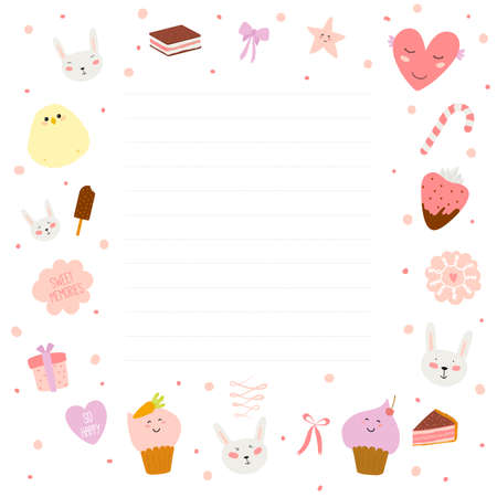 Illustration pour Cute cards, notes and stickers with spring and summer illustrations. Template for scrapbooking, notebooks, diary, personal schedule and school accessories. - image libre de droit