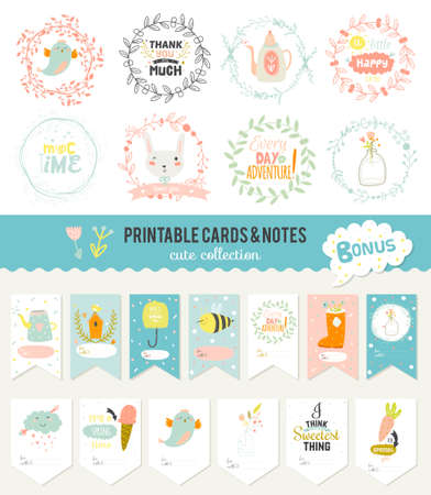 Ilustración de Cute cards, notes and stickers with spring and summer illustrations. Template for scrapbooking, notebooks, diary, personal schedule and school accessories. - Imagen libre de derechos