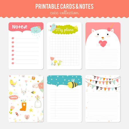 Illustration for Cute cards, notes and stickers with spring and summer illustrations. Template for scrapbooking, notebooks, diary, personal schedule and school accessories. - Royalty Free Image