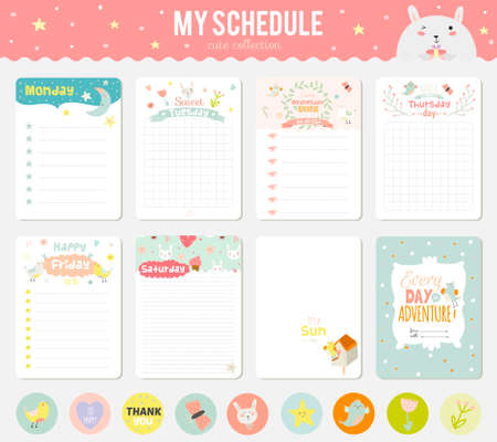 Foto de Cute cards, notes and stickers with spring and summer illustrations. Template for scrapbooking, notebooks, diary, personal schedule and school accessories. - Imagen libre de derechos