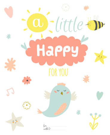 Illustration pour Cute summer card with character vector illustration and typographic. Inspirational and motivational quotes poster. Good for happy birthday greetings and other holidays. - image libre de droit