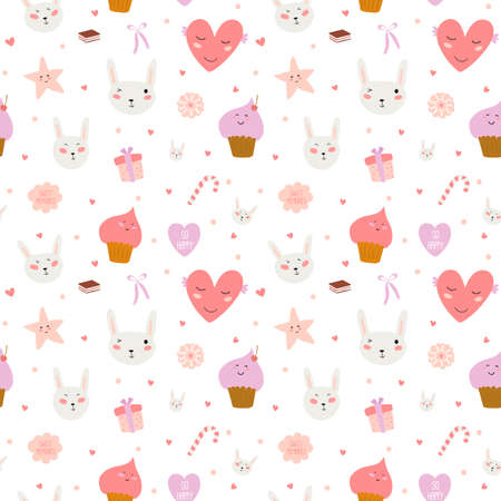 Ilustración de Cute funny seamless pattern with sweet cupcakes, bunnys, hearts, stars, ribbons, lollipops. Best for textures, wallpaper, wrapping, scrapbooking. Lovely romantic Easter background in vector - Imagen libre de derechos