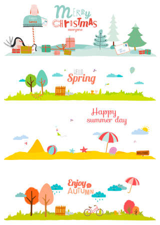 Illustration pour Vector illustration banners for tourism or camp for kids in a cute and cartoon style. Spring, summer, autumn and winter season backgrounds. Outdoor, snow, beach, sea, playground, garden, sky, grass - image libre de droit
