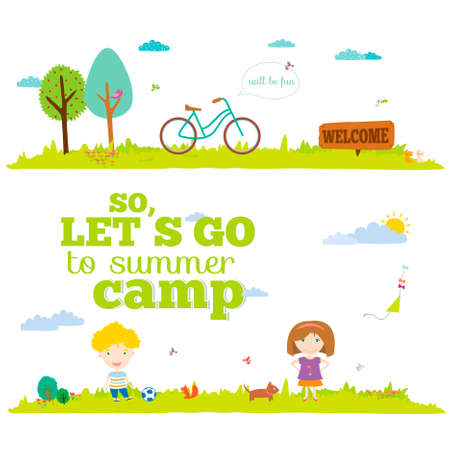 Illustration pour Vector illustration banners for tourism or camp for kids in a cute and cartoon style. Spring and summer season background. Outdoor, travel, beach, sea, playground, garden, sky, grass, tree - image libre de droit