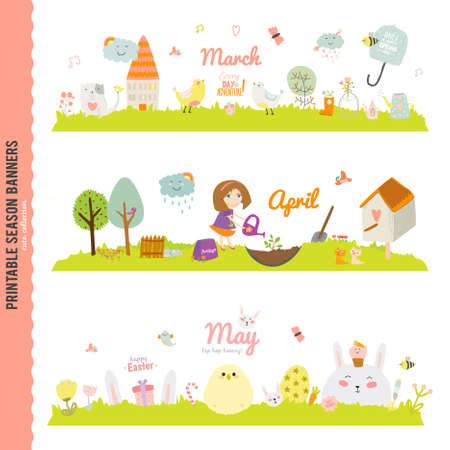 Illustration for Set of Three Monthly Seasonally Vector Banners in a Cute and Character Style for Posters, Flyers, Web or other Graphic Designs. Summer, Autumn, Winter, Spring Season. Nature Outdoor Backgrounds - Royalty Free Image