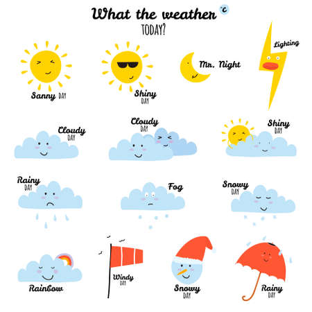 Illustration pour Collection of unusual cartoon and funny smiley weather icons. Vector illustration in cute style. - image libre de droit