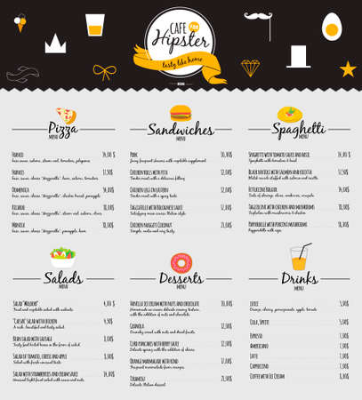Illustration pour Big logo set of restaurant and cafe menu design. Template logotype in vector. Cooking icons, labels, wreathes and graphic elements in hipster style. Vintage illustration of fast food. - image libre de droit