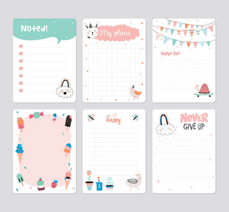Illustration pour Cute Calendar Daily Planner Template for 2016. Note Paper Set with Vector Funny Animals Illustrations. Good for Kids. Summer Season Holidays Backgrounds. Organizer and Schedule with place for Notes - image libre de droit