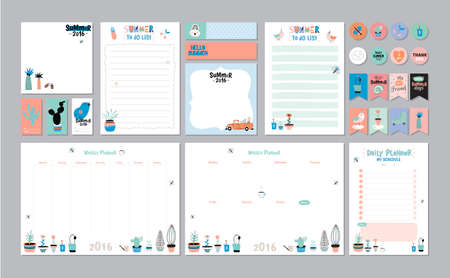 Illustration pour Scandinavian Weekly and Daily Planner Template. Organizer and Schedule with Notes and To Do List. Vector. Isolated. Trendy Holiday Summer Concept with Graphic Design Elements - image libre de droit