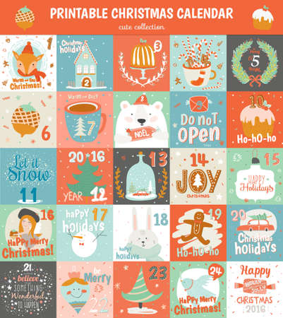 Illustration for Printable advent calendar in vector. Cute Christmas calendar with a lot of holiday symbols animals, fir tree, snowman, angel, gifts, toys, snow, sweets and others. Lovely winter card in cartoon style - Royalty Free Image