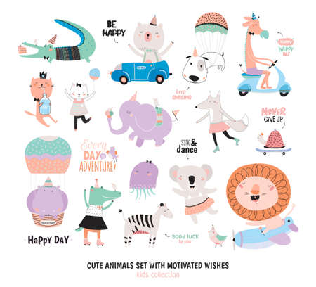 Illustration pour Cute Funny Animals and Motivated Wishes Set. Isolated. White background. Vector. Good for posters, stickers, cards, scrapbook, alphabet and baby showers. Kids collection - image libre de droit