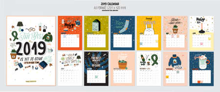 Illustration for Cute 2019 Calendar. Yearly Planner Calendar with all Months. Good Organizer and Schedule. Bright colorful illustration with motivational quotes. Vector background - Royalty Free Image