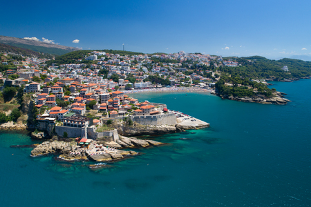 Foto de Aerial view of the old city of Ulcinj - the southernmost city of the Montenegro. - Imagen libre de derechos