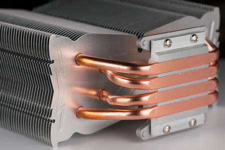 Foto de modern computer processor cooler or radiator or heat sink, close up - Imagen libre de derechos