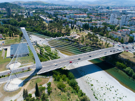 Photo for aerial view of Millennium bridge over Moraca river in Podgorica, Montenegro - Royalty Free Image