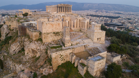 Photo for Aerial view of Acropolis of Athens ancient citadel in Greece - Royalty Free Image