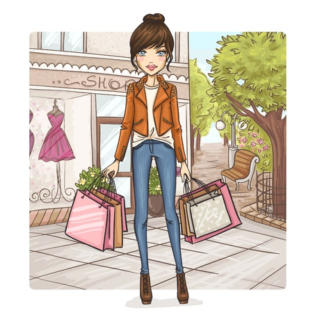 Photo pour Fashion girl at shopping  - image libre de droit
