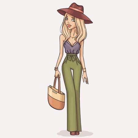 Ilustración de Hand drawn fashion girl illustration - Imagen libre de derechos
