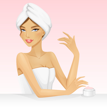 Ilustración de Woman with a towel on the head after shower or bath. Beautiful vector illustration for spa or beauty. Spa girl. - Imagen libre de derechos