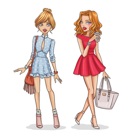Ilustración de Beautiful and stylish fashion girls. Hand drawn girls in spring-summer outfits. Vector illustration. - Imagen libre de derechos