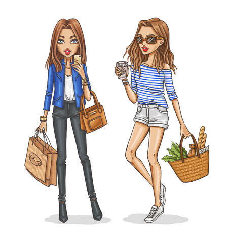 Foto per Beautiful and stylish fashion girls. Hand drawn girls in spring-summer outfits. Vector illustration. - Immagine Royalty Free