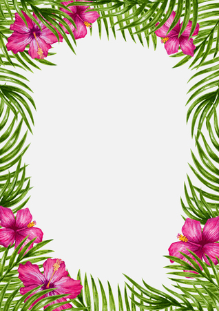 Illustration pour Palm leaves and tropical flower background. Tropical greeting card. - image libre de droit