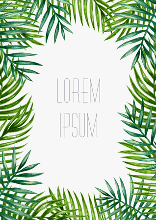 Illustration pour Palm leaves background. Tropical greeting card. - image libre de droit