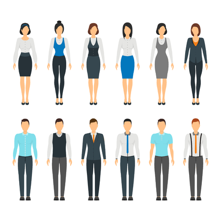 Illustration for Cartoon Business People Set Staff Formal Dress Style Fashion Hairstyle for Men and Women Flat Design. Vector illustration of office peoples dresses - Royalty Free Image
